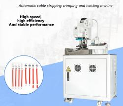 Automatic cable stripping crimping and twisting mchine